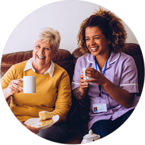 Caregiver and client having coffee